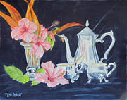 Silver Tea Pot Paintings - Tea Party by Mikki Alhart