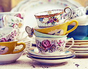 Charming Cottage Prints - Tea Party - Vintage Tea Cups Photograph Print by Elle Moss
