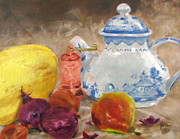 Teapot Paintings - Tea Pot And Spice Grinder by Janet Poirier
