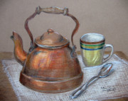 Spoon Drawings Prints - Tea Pot Print by Patricia Januszkiewicz
