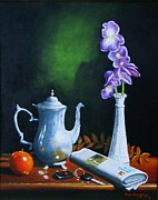 Gene Gregory Posters - Tea pot with iris Poster by Gene Gregory
