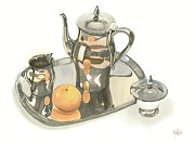 Fruit Still Life Mixed Media Posters - Tea Service with Orange Poster by Kip DeVore