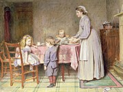 Kids Prints Painting Framed Prints - Tea Time Framed Print by George Goodwin Kilburne