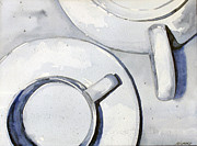 Teapot Paintings - Tea Time - Indigo Blue by Mark Hufford