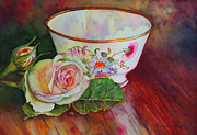 Antique Teacup Framed Prints - Tea Time Framed Print by Karen Kennedy Chatham