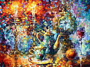 Burning Painting Posters - Tea Time Poster by Leonid Afremov