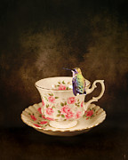 Tiny Bird Prints - Tea Time With a Hummingbird Print by Jai Johnson
