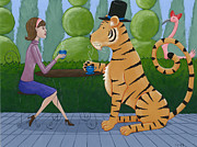 Cafe Art Posters - Tea with a Tiger Poster by Christy Beckwith