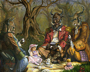 Quilt Paintings - Tea with the Ogres by Jeff Brimley