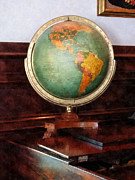 Pianos Prints - Teacher - Globe on Piano Print by Susan Savad