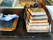 School Houses Photos - Teacher - Old School Books and Slate by Susan Savad