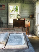 Hurricane Lamp Posters - Teacher - One Room Schoolhouse with Book Poster by Susan Savad
