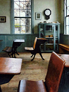 One Room Schoolhouse Prints - Teacher - One Room Schoolhouse With Clock Print by Susan Savad