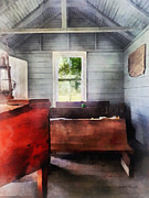 One Room School Houses Posters - Teacher - One Room Schoolhouse with Hurricane Lamp Poster by Susan Savad