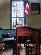One Room Schoolhouse Prints - Teacher - Schoolmasters Desk Print by Susan Savad