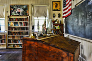 One Room School Framed Prints - Teacher - Vintage Desk Framed Print by Paul Ward
