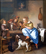 Flute Player Prints - Teaching A Cat To Dance Print by Jan Steen