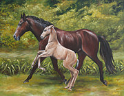 Horse Riders Painting Originals - Teaching the Ropes by Debbie Hart