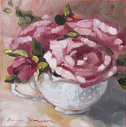 White Roses Paintings - Teacup 1 by Tanya Jansen