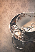 Gold Necklace Framed Prints - Teacup and Pearls Framed Print by Jan Bickerton