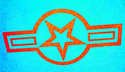 Jet Star Photo Metal Prints - Teal and Rust Fighter Star Metal Print by Holly Blunkall