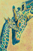 Giraffe Framed Prints - Teal Giraffes Framed Print by Jane Schnetlage