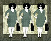 Apparel Digital Art Prints - Teal Green Plus Size Women Shopping Print by Janet Carlson
