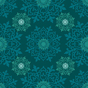 Doily Digital Art - Teal II by Lisa Noneman