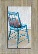 Kitchen Chair Posters - Teal Kitchen Chair by Ann Marie Fitzsimmons Poster by Sheldon Kralstein