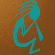 Indian Pastels Prints - Teal Kokopelli Print by Michelle Brenmark