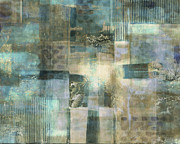 Light Taupe Prints - Teal Luminous Layers Print by Lee Ann Asch