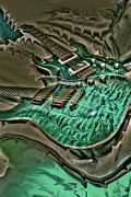 Lebron Prints - Teal Steel Digital Guitar Art by Steven Langston Print by Steven Lebron Langston