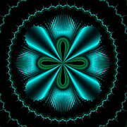 Teal Wheel Mandelbrot Print by Faye Giblin