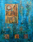 Painted Mixed Media Metal Prints - Teal Windows Metal Print by Debi Pople
