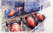 Sport Painting Framed Prints - Team Ferrari 500 F2 1952 French GP Framed Print by Yuriy  Shevchuk