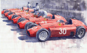 Watercolour Painting Posters - Team Lancia Ferrari D50 type C 1956 Italian GP Poster by Yuriy  Shevchuk