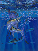 Sailfish Painting Framed Prints - Team Work Off0036 Framed Print by Carey Chen