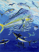 Blue Marlin Paintings - Teamwork Off0059 by Carey Chen