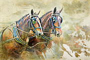 Dressage Horse Originals - Teamwork one of A Kind Original by Lyndsey Warren