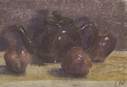 Gift Pastels Originals - Teapot and Apples by Claudia Cox