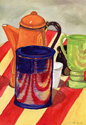 Pottery Paintings - Teapot and Cup Still Life by Mukta Gupta