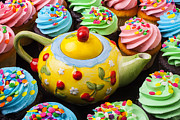 Pink Dots  Posters - Teapot and cupcakes  Poster by Garry Gay