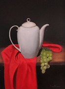 Grapes Art Originals - Teapot and Grapes by Gary  Faulkner