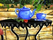 Outdoor Still Life Paintings - Teapot and rose by Dori Anderson