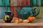 Tangerines Prints - Teapot and Tangerine Print by Luv Photography