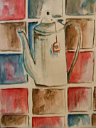 Teapot Painting Originals - Teapot and Tiles by Elaine Duras