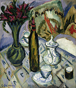 Teatime Prints - Teapot Bottle and Red Flowers Print by Ernst Ludwig Kirchner