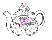 Teapot Drawings - Teapot by Debralyn Skidmore