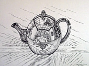 Teapot Drawings - Teapot Reflections by Catherine Henningham Puttick
