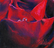 Red Art Pastels Prints - Tear Drops of Love Print by Billie Colson